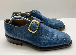 Romano Martegani Genuine Alligator Crocodile Blue Loafers Men US Sz 10 M *Rare*