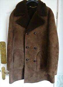 Men's VINTAGE DARK BROWN HEAVY SHEEPSKIN COAT 44 Chest