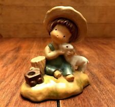 Vintage UCTCI Japan Pottery Figurine - Boy in Overalls and Hat with Lamb - 3.5""