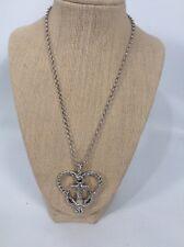 Pretty Brighton Anchor In Love heart silver tone pendant  necklace