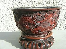 More details for antique chinese cinnabar carved imperial dragon  bowl  qianlong mark