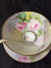 Vintage Nippon Hand Painted Ftd Bowl W/Spoon & saucer Rose's~Gold Trim~Pre1921