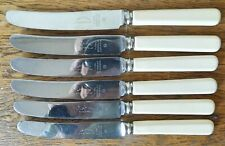 VINTAGE MATCHING SET of 6 SHEFFIELD FIRTH STAINLESS BUTTER KNIVES Ivorine Handle