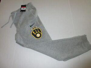 Nike Milwaukee Brewers MLB Gray Color Bar Club Fleece Pants Size Medium N804-06G