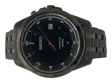 Seiko Kinetic Mens Black Ion Plate Stainless Steel 100M Date Watch