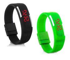 2x Digital Silikon LED Armband Uhr Armbanduhr Watch Herren Damen Kinder Sport GS