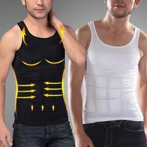 Men Vest Tank Top Slimming Belly T-Shirt Body Shaper Compression Shapewear Black