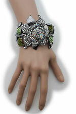 Women Pewter Wide Cuff Bracelet Fashion Jewelry Metal Big Rose Flower Rhinestone