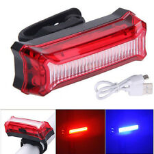 Rechargeable 6 Modes COB LED Red Blue Bicycle Bike Cycling Rear Tail Light Lamp