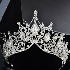 7.5cm High Luxury Large Crystal Beads Tiara Crown Wedding Party Prom Pageant