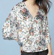 ANTHROPOLOGIE, Silk Velvet Wrap Top, Kimono, Silver, Sz: S,Floral, RRP £128, NEW