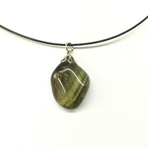 Vintage 90s Polished Tumbled Green Tiger Eye Stone Pendant + Black Wire Cord EUC