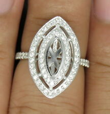 Marquise Cut 5x10 Solid 14K White Gold Natural Full Cut Diamond Semi Mount Ring