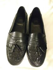 Mens Croft & Barrow black leather tassel kiltie slip-ons shoes sz.11  M