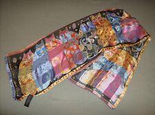 Fashion designer Laurel Burch large sized feline family portrait silk neck scarf