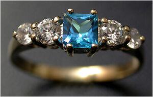 Faux Blue Topaz w Diamond Accents Ring size J 9ct gold London H M Quality