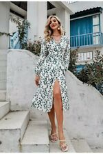 Simplee Casual V-neck Print Long Dress Spring Summer Long Sleeve Lace-up A-line
