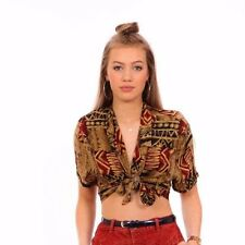 aztec tribal crazy pattern  cropped tie front shirt Studio Ease summer festival