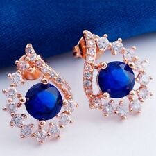 Nice New Rose Gold Plated Fancy Round Sapphire Blue CZ w/Accents Stud Earrings