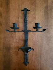 New listing * Antique/Vintage Wrought Iron Religious Wall Candleholder