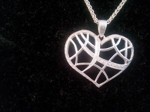 Silver Stamped 925 Open Work Heart and Rope Chain Pendant Necklace