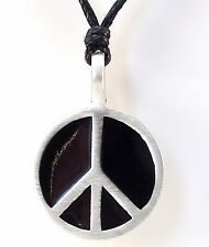 Pewter PEACE SIGN Pendant on Black Cord Necklace Nickel Free CND Ban the Bomb #2