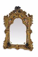 MIRROR CRYSTAL IN WOODEN ALABASTER FRAME  GOLD WITH PUTS AND PAINTINGS #275