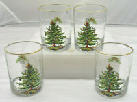 Set of 4 Spode Christmas Tree Glasses Double Old Fashioned 14 oz w/ Box