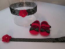 Scarpe neonata uncinetto eleganti complete di fascia per capelli /portaciuccio.