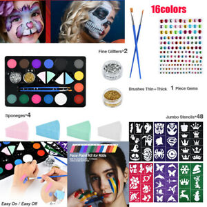 Face Body Painting Professional Palettes Set 16 Colours Oil Stage Make Up Kit UK