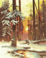 Counted Cross Stitch Kit Winter Sunset in a Spruce Forest VH 1076