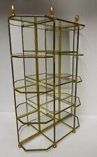 Vintage Brass Glass Mirror Figurine Footed Curio Display Table Top Vanity Shelf