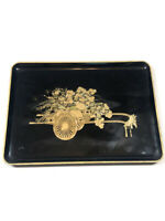 Otagiri Japan Flower Cart Lacquer Tray Black Gold Metallic Home Decor Vintage