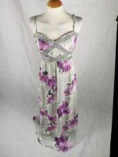 Ladies Dress Size 16 QUIZ Grey Purple Long Maxi Party Evening Wedding Prom
