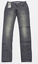 b51a0de816f324 MIss VIVI Jeans-Hose Röhre Grau Skinny Stretch Niedriger Bund Faded Gr 34  36 NEU