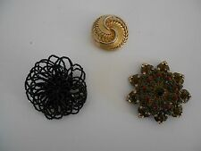 Gold Circular Pin & Black Beaded Pin Brooch Lot of 3, Chico Multi-Colored Pin,