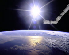 New 8x10 Space Photo: Robotic Arm and Sunburst Over Earth from Shuttle Mission
