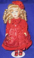 Collectors Choice Porcelain Doll with Red Velvet Dress - SHIPPING INCLUDED