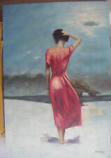 "WOMAN WALKING ON BEACH ART OIL PAINTING 24X36"" STRETCHED"