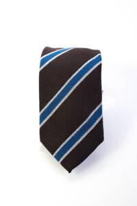 Bigi Mens Striped Necktie Brown Blue Wool