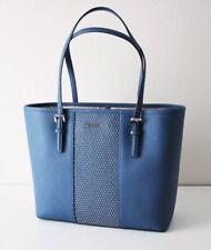 Michael Kors Bag Shopper Micro Stud Sm Carry all Tote Bag Blue Leather
