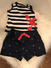 Nwt Just One You By Carters Baby Boy 3M 2 Piece Shorts/Top Nautical Crab Outfit