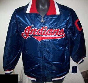 CLEVELAND INDIANS MLB STARTER Full Zip Jacket BLUE MEDIUM LARGE