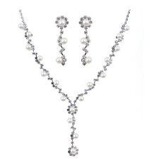 Weddings Bridal Jewellery White Floating Pearls & Silver Earrings Necklace S828