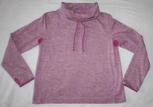 Women's J Crew Pink Marled Drawstring Fold Over Collar Workout Shirt Top Size XL