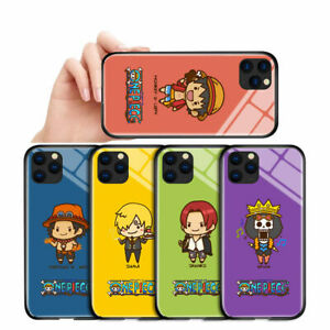 Cover For iPhone 11 X Samsung A10 Anime OnePiece Luffy Sanji Tempered Glass Case