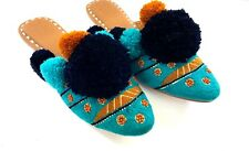 Figue New Sz 9 Embroidered Iris Sandals Slides Teal w Multi-Color  Pompoms Beads