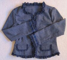 Paper Doll-Girl's Blazer/Coat/Jacket-Blue/G ray-Houndstooth-Polyester Blend-Xl 16