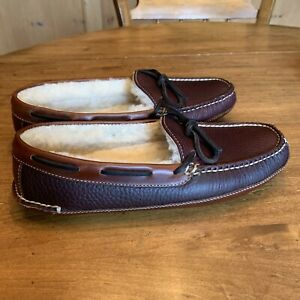Mens LL Bean Dobble Sole Shearling Lined Moccisins Size 9 M