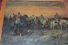 Antique Framed Adolph Schreyer Original Print Victorian Beoduins Arabian Horses
